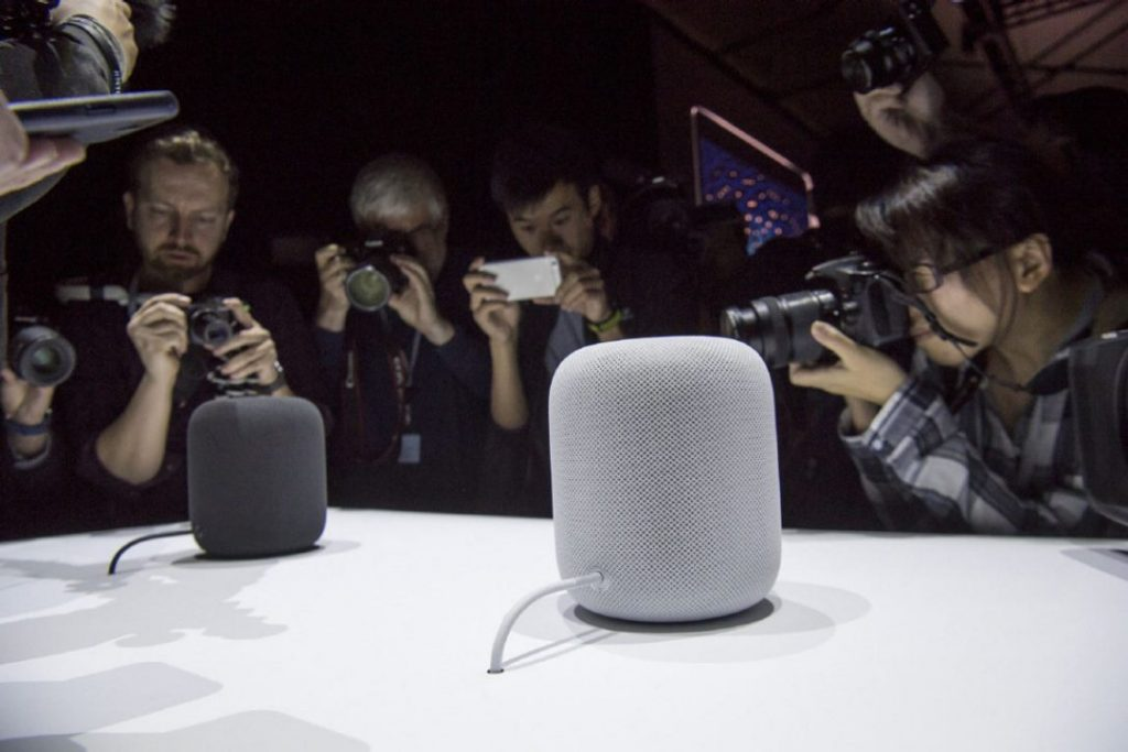 Cena do lançamento do HomePod da Apple (Imagem: David Paul Morris / Bloomberg)